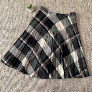 Vintage Gray Red Plaid Pleated Wool Midi Skirt 32